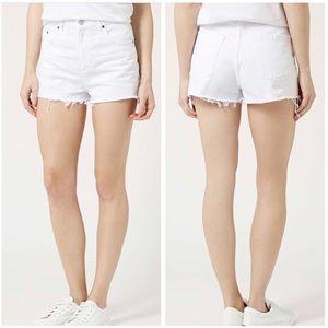 Topshop Moto Mom White Jean Shorts Size 8